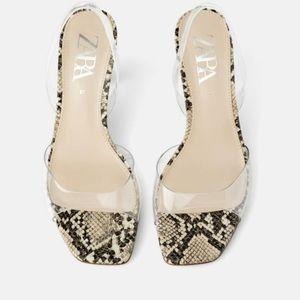 Zara Clear Strap Snake Print Heel Sandals
